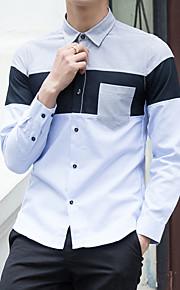 メンズ お出かけ カジュアル/普段着 ホリデー オールシーズン シャツ,シンプル ストリートファッション 活発的 スタンド カラーブロック コットン ポリエステル 長袖 ミディアム