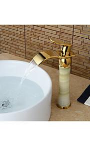 Moderni Integroitu Vesiputous with  Keraaminen venttiili Yksi kahva yksi reikä for  Ti-PVD , Kylpyhuone Sink hana