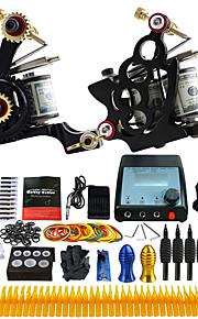 Complete Tattoo Kit 2 Pro Machine Power Supply Foot Pedal Needles TK229