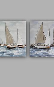 Peint à la main Abstrait Paysages Abstraits Carré,Moderne Classique Deux Panneaux Toile Peinture à l'huile Hang-peint For Décoration