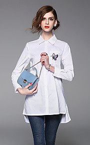JOJO HANS Women's Casual/Daily Work Simple Loose T Shirt DressSolid Embroidered Shirt Collar Mini  Sleeve Blue White Cotton PolyesterSpring