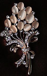 Broches Bergkristal Legering Strass Opaal Gouden Wit Bloemenstijl Sieraden Feest Causaal