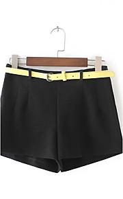 Damen Lose Chinos Kurze Hosen Hose-Ausgehen Lässig/Alltäglich Einfach Street Schick einfarbig Mittlere Hüfthöhe Kordelzug Polyester