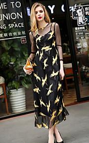 JOJO HANS Women's Going out Cute Loose DressAnimal Print Round Neck Midi  Sleeve Black Polyester Spring Summer Mid Rise Micro-elastic Medium