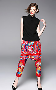 JOJO HANS Women's Going out Casual/Daily Sophisticated Spring Summer T-shirt Pant SuitsSolid Stand Sleeveless Embroidered Polyester