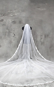Свадебные вуали Один слой Фата для венчания Кружевная кромка Тюль