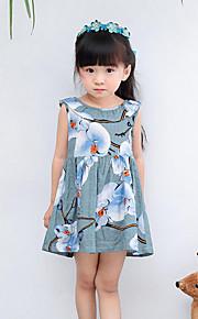 Mädchen Kleid Strand Blumen Baumwolle Sommer Frühling Ärmellos