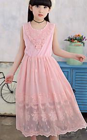 Mädchen Kleid Strand einfarbig Blumen Baumwolle Polyester Sommer Ärmellos