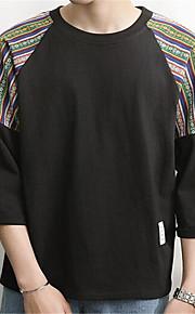 メンズ カジュアル/普段着 夏 Tシャツ,ヴィンテージ ラウンドネック プリント コットン 半袖 薄手
