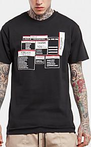 メンズ カジュアル/普段着 春 Tシャツ,シンプル ラウンドネック ソリッド コットン 半袖 ミディアム