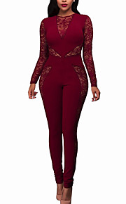 Women's Skinny JumpsuitsCasual/Daily / Club Sexy / Street chic Print Slim Lace Round Neck Long Sleeve Mid Rise Micro-elasticSpring