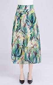 Damen Übergrössen Breites Bein Chinos Hose-Ausgehen Lässig/Alltäglich Einfach Niedlich Druck Chiffon Hohe Hüfthöhe Elastizität Polyester