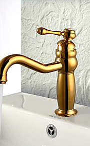 Art Deco/Retro Integroitu Widespary with  Keraaminen venttiili Yksi kahva yksi reikä for  Ti-PVD , Kylpyhuone Sink hana