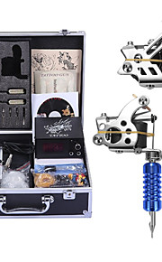 Complete Tattoo Kit 2 steel machine liner & shader 2 Tattoo Machines LCD power supply Inks Shipped Separately