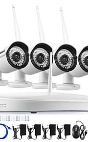 Sistema del cctv del annke® 4ch sistema de pesos americano sin hilos 960p nvr 4pcs 1.3mp ir al aire libre cámara del cctv del IP del wifi del p2p