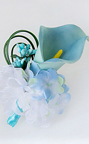 פרחי חתונה בצורה חופשיה שושנים פרחי אדמוניות פרחי דש חתונה חתונה/ אירוע סאטן חרוז