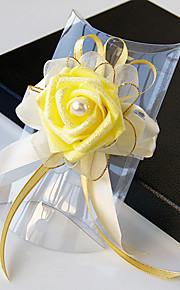 פרחי חתונה בצורה חופשיה ורדים זר פרחים לפרק כף יד חתונה חתונה/ אירוע סאטן חרוז