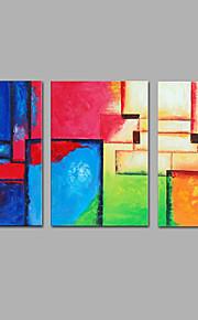 手描きの 抽象画 縦長,Modern 3枚 キャンバス ハング塗装油絵 For ホームデコレーション