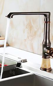 アールデコ調/レトロ風 標準スパウト センターセット ワイドspary with  セラミックバルブ シングルハンドルつの穴 for  ローズゴールド , 水栓