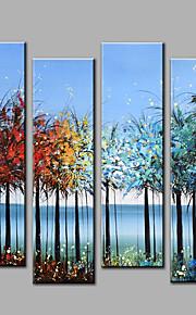 Maalattu Abstrakti Pystysuora,Moderni 4 paneeli Kanvas Hang-Painted öljymaalaus For Kodinsisustus