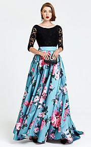 Formell kveld Kjole - mønster kjole A-linje Besmykket Svøpeslep Blonder Sateng med Blonder Plissert