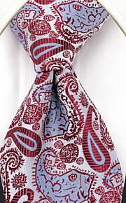 UXL17 Men's Necktie Red Paisley 100% Silk Business Dress Casual For Men