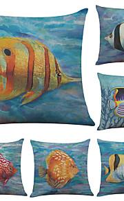 Set of 6 Tropical Fish Pattern Linen Pillowcase Sofa Home Decor Cushion Cover  Throw Pillow Case (18*18inch)