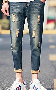 Heren Eenvoudig Medium taille Recht Slank Micro-elastisch Jeans BroekEffen