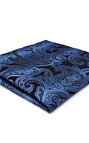 CH23 New Business Mens Handkerchiefs Pocket Square Blue Black Paisley 100% Silk Fashion Unique