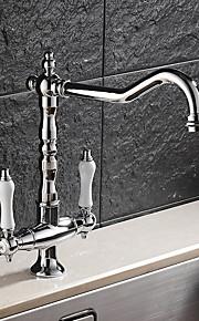 現代風 アールデコ調/レトロ風 近代の 標準スパウト 洗面ボウル 回転可 with  セラミックバルブ 二つのハンドルつの穴 for  クロム , 水栓