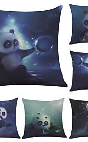 Set of 6  National Treasure Panda Pattern Linen Pillowcase Sofa Home Decor Cushion Cover  Throw Pillow Case (18*18inch)