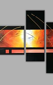 Maalattu Abstrakti Mikä tahansa muoto,Moderni 3 paneeli Kanvas Hang-Painted öljymaalaus For Kodinsisustus