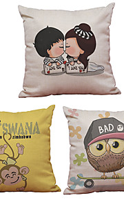 Set of 3  Cartoon Kids Pattern  Linen Pillowcase Sofa Home Decor Cushion Cover