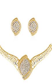 Set de Bijoux Collier Boucles d'oreilles Mode euroaméricains Strass Alliage 1 Collier 1 Paire de Boucles d'Oreille PourMariage Soirée