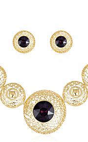 Set de Bijoux Collier Boucles d'oreilles Mode euroaméricains Verre Alliage Forme Ronde 1 Collier 1 Paire de Boucles d'Oreille PourMariage