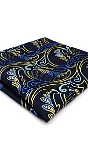 CH15 Unique Men's Pocket Square Handkerchiefs Blue Yellow Multicolor Paisley 100% Silk Fashion Dress Casual Classic