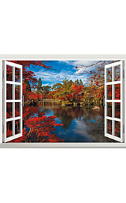 3D Wall Stickers Wall Decals Style Forest Reflection River PVC Wall Stickers