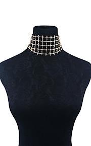 Damen Halsketten Strass Geometrische Form Kupfer Strass Modisch individualisiert Euramerican Schmuck FürParty Besondere Anlässe Alltag