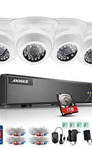 Annke® 8ch 4pcs 960p hd dvr tvi kit 5 i 1 skærm ir skåret vandtæt sikkerhedssystem 1tb med fjernbetjening