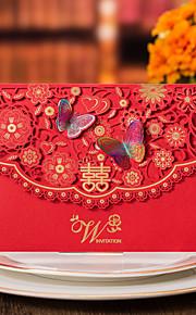 Personalisert Topp Fold Bryllupsinvitasjoner Invitasjonskort-50 Stykke/SettFormell Stil Vintage Stil Blomsterstil Sommerfugl Stil