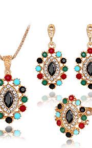 Set de Bijoux Bague Collier / Boucles d'oreilles Mode euroaméricains Résine Strass Alliage Forme Géométrique1 Collier 1 Paire de Boucles
