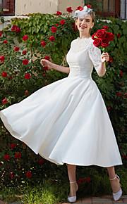 Trapèze Longueur Genou Dentelle Robe de mariée avec Appliques Drapée par LAN TING BRIDE®
