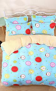 Housses de couette en duvet floral motif 4 pièces réactive imprimé double reine reine 1pc housse de couette 2pcs shams 1pc feuille plate