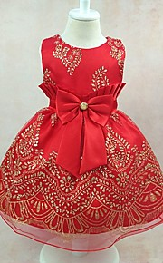 Robe de Soirée Mi-long Robe de Demoiselle d'Honneur Fille - Satin Tulle Polyester Bijoux avec Noeud(s) Broderie Ceinture / Ruban