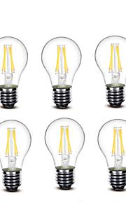 3.5 E27 Ampoules à Filament LED A60(A19) 4 COB 400 lm Blanc Chaud Décorative AC220 AC230 AC240 V 6 pièces