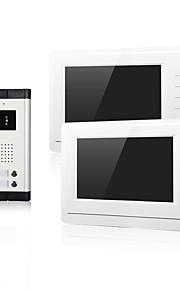 To familie nat vision med cmos kamera indgang 2 skærme 7 tommer tft lcd skærm video dør telefon til lejlighed