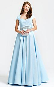 TS Couture Formell kveld Kjole - Vintageinspirert A-linje Dronning Anne Gulvlang Sateng med Perler Lommer Plissert