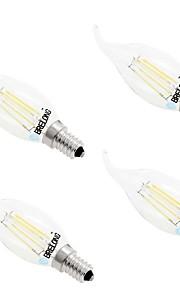 4W E14 Ampoules à Filament LED C35 4 COB 400 lm Blanc Chaud Blanc Gradable AC 100-240 V 4 pièces
