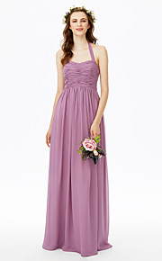 Sheath / Column Halter Floor Length Chiffon Bridesmaid Dress with Bow(s) Ruching Pleats by LAN TING BRIDE®