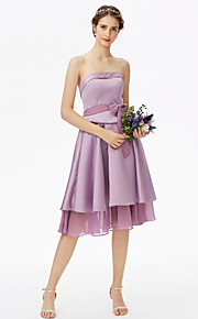 A-Line Strapless Knee Length Chiffon Satin Bridesmaid Dress with Bow(s) Sash / Ribbon Tiered by LAN TING BRIDE®